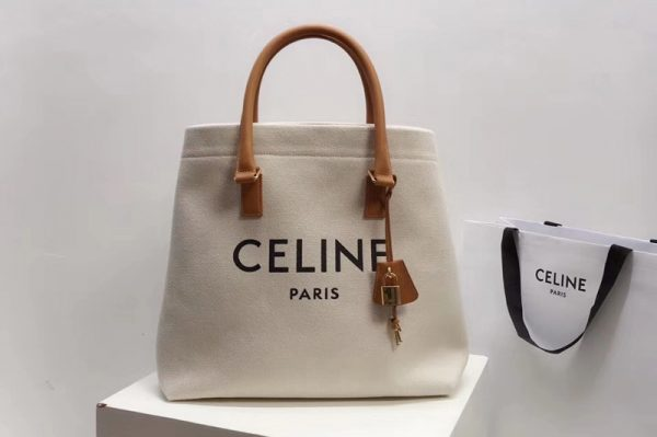 Replica Celine 192162 HORIZONTAL CABAS CELINE IN CANVAS WITH CELINE PRINT AND CALFSKIN