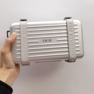 Replica Gray DIOR AND RIMOWA PERSONAL CLUTCH 2DRCA295YWT IN ALUMINUM AND GRAINED CALFSKIN