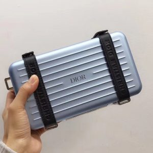 Replica Blue DIOR AND RIMOWA PERSONAL CLUTCH 2DRCA295YWT IN ALUMINUM AND GRAINED CALFSKIN