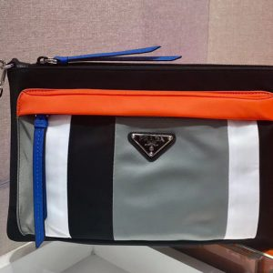 Replica Prada 2NH007 Nylon pouch Black/White/Orange/Gray Nylon