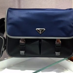 Replica Prada 2VD768 Nylon and Saffiano leather shoulder bags Blue/Black Nylon
