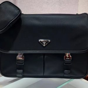 Replica Prada 2VD768 Nylon and Saffiano leather shoulder bags Black Nylon