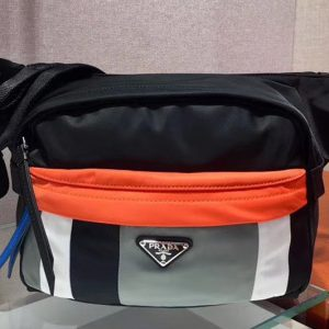 Replica Prada 2VH038 Technical fabric cross-body bags Black/White/Gray/Orange Technical fabric