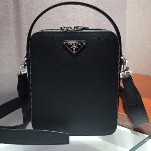 Replica Prada 2VH066 Brique Saffiano leather bags Black Saffiano leather
