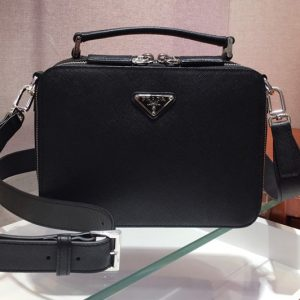 Replica Prada 2VH069 Brique Saffiano leather bags Black Saffiano leather