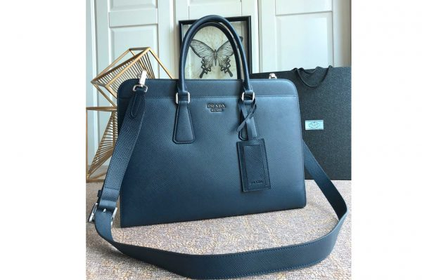 Replica Prada 2VN006 Saffiano leather briefcase Blue Saffiano Cuir leather