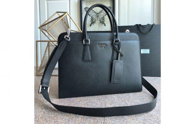 Replica Prada 2VN006 Saffiano leather briefcase Black Saffiano Cuir leather