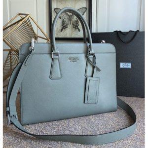 Replica Prada 2VN006 Saffiano leather briefcase Gray Saffiano Cuir leather