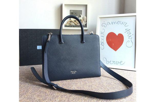 Replica Prada 2VN006B Saffiano leather briefcase Blue Saffiano Cuir leather