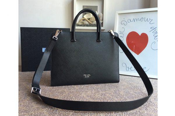 Replica Prada 2VN006B Saffiano leather briefcase Black Saffiano Cuir leather
