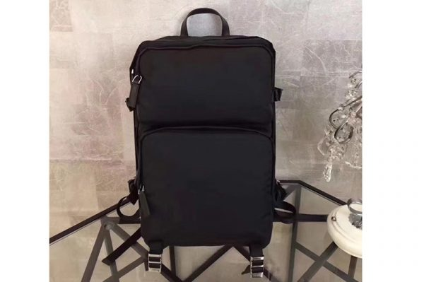Replica Prada 2VZ001 Fabric Backpack Black Technical fabric with Saffiano leather