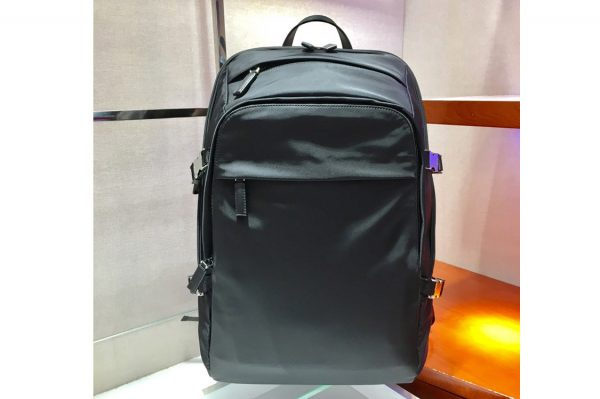 Replica Prada 2VZ022 Technical fabric and Saffiano leather backpack Black Technical fabric