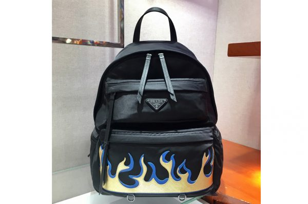 Replica Prada 2VZ025 Printed technical fabric backpack Black Technical fabric