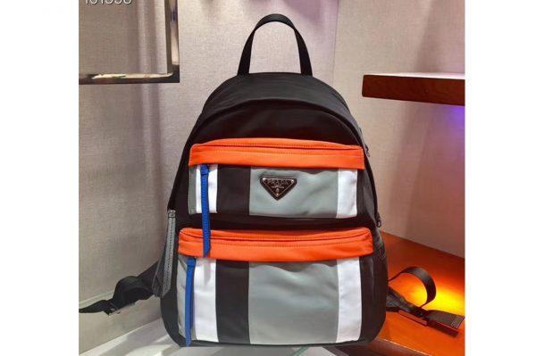 Replica Prada 2VZ025 Printed technical fabric backpack Black Technical fabric