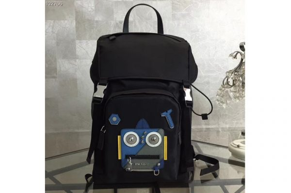 Replica Prada 2VZ135 Technical fabric backpack With Blue Robat