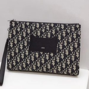 Replica DIOR OBLIQUE POUCH in blue Dior Oblique jacquard canvas
