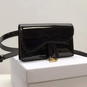 Replica Dior S5619CWPL SADDLE BELT CLUTCH IN Black patent calfskin