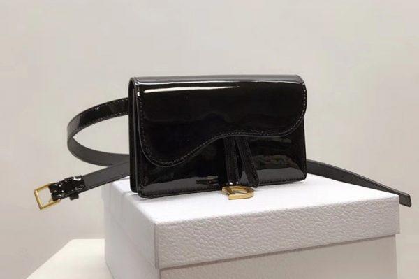 Replica Dior S5619CWPL SADDLE BELT CLUTCH IN Black patent calfskin