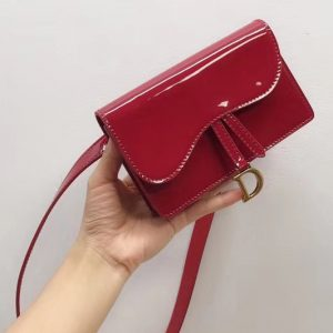 Replica Dior S5619CWPL SADDLE BELT CLUTCH IN red patent calfskin