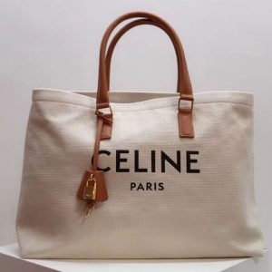 Replica Celine Horizontal Cabas Tote Bags in Canvas with Celine print and calfskin