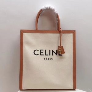 Replica Celine Horizontal Vertical Tote Bags in Canvas with Celine print and calfskin