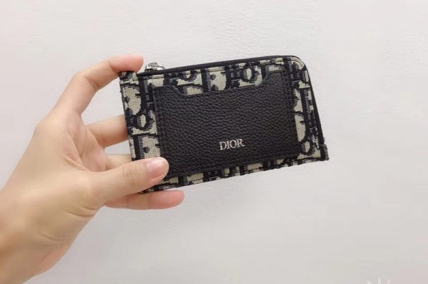Replica DIOR OBLIQUE JACQUARD ZIPPED CARD HOLDER in black Dior Oblique jacquard Canvas