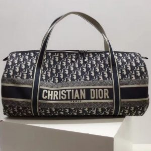 Replica BEIGE AND BLACK DIOR OBLIQUE JACQUARD DUFFLE BAG in Beige and black Dior Oblique jacquard