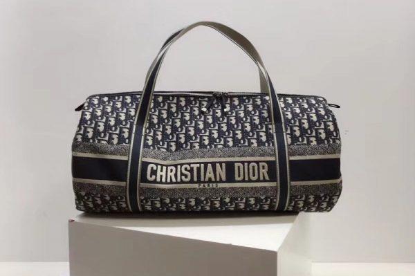 Replica BEIGE AND BLACK DIOR OBLIQUE JACQUARD DUFFLE BAG in Beige and black Dior Oblique jacquard