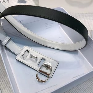 Replica Dior 30 Montaigne lambskin belt With Silver CD buckle in White lambskin Leather