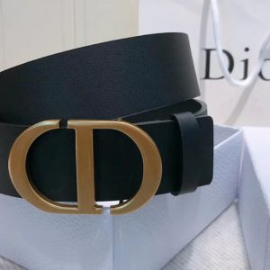 Replica Dior 30 Montaigne 35mm belt With CD logo Buckle in Black Calfskin Leather
