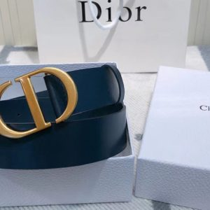 Replica Dior 30 Montaigne 35mm belt With CD logo Buckle in Blue Calfskin Leather