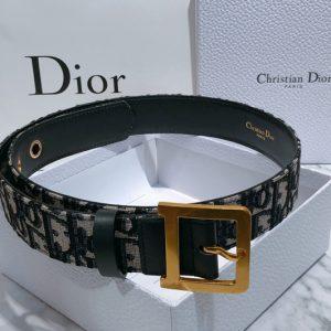Replica Diorquake Dior Oblique Belt 35mm in blue Dior Oblique jacquard canvas