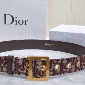 Replica Diorquake Dior Oblique Belt 35mm in burgundy Dior Oblique jacquard canvas
