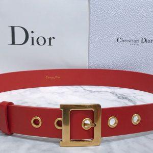 Replica Dior Diorquake Calfskin Belt 35mm in Red Calfskin Leather