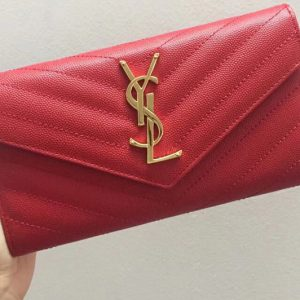 Replica Saint Laurent YSL 372264 Monogram Large Flap Wallet in Red Grain de Poudre Embossed Leather