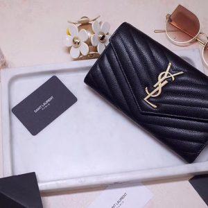 Replica Saint Laurent YSL 372264 Monogram Large Flap Wallet in Black Grain de Poudre Embossed Leather Silver Hardware