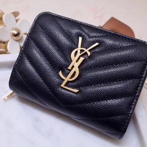 Replica Saint Laurent YSL 403723 Monogram Compact Zip Around Wallet In Black Grain de poudre Embossed Leather Gold Hardware