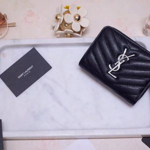 Replica Saint Laurent YSL 403723 Monogram Compact Zip Around Wallet In Black Grain de poudre Embossed Leather Silver Hardware""