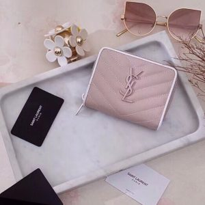 Replica Saint Laurent YSL 403723 Monogram Compact Zip Around Wallet In Pink Grain de poudre Embossed Leather