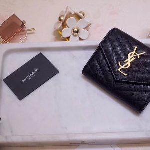 Replica Saint Laurent YSL 403943 Monogram Compact Tri Fold Wallet In Black Grain De Poudre Embossed Leather