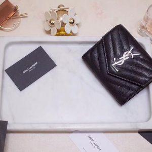 Replica Saint Laurent YSL 403943 Monogram Compact Tri Fold Wallet In Black Grain De Poudre Embossed Leather Silver YSL