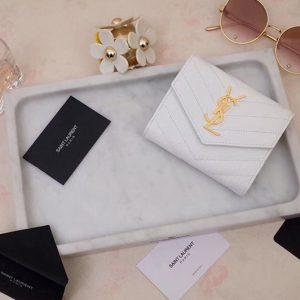 Replica Saint Laurent YSL 403943 Monogram Compact Tri Fold Wallet In White Grain De Poudre Embossed Leather Gold YSL
