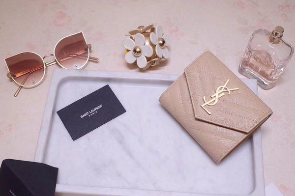 Replica Saint Laurent YSL 403943 Monogram Compact Tri Fold Wallet In Pink Grain De Poudre Embossed Leather Gold YSL
