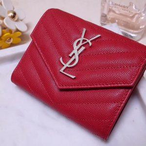 Replica Saint Laurent YSL 403943 Monogram Compact Tri Fold Wallet In Red Grain De Poudre Embossed Leather Silver YSL