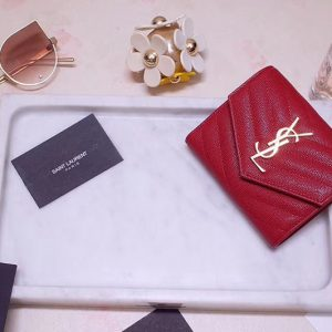 Replica Saint Laurent YSL 403943 Monogram Compact Tri Fold Wallet In Red Grain De Poudre Embossed Leather Gold YSL