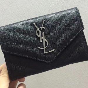 Replica Saint Laurent YSL 414404 Small Monogram Envelope Wallet Black Grain de Poudre Embossed Leather