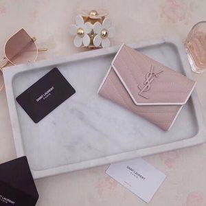 Replica Saint Laurent YSL 414404 Small Monogram Envelope Wallet Pink Grain de Poudre Embossed Leather