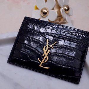 Replica Saint Laurent YSL 423291 Monogram Card Case In Black Shiny Crocodile Embossed Leather Gold YSL