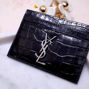 Replica Saint Laurent YSL 423291 Monogram Card Case In Black Shiny Crocodile Embossed Leather Silver Hardware
