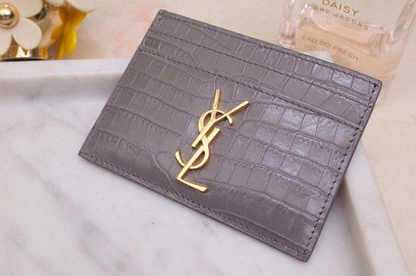 Replica Saint Laurent YSL 423291 Monogram Card Case In Gray Shiny Crocodile Embossed Leather Gold YSL